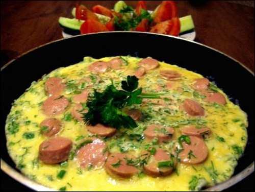 простой омлет с сосисками_prostoj omlet s sosiskami