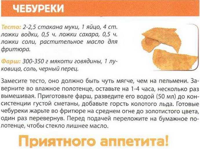 Рецепт приготовления чебуреков