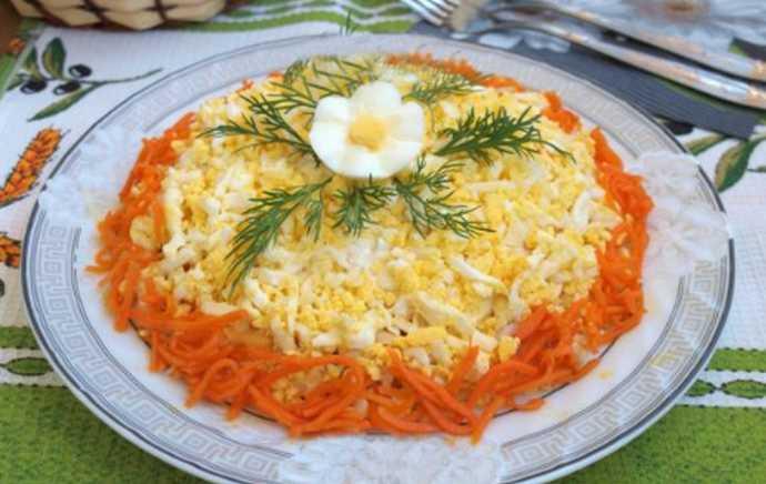 Салат с копченым мясом и корейской морковкой