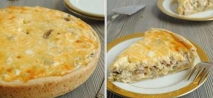 Приготовление пирога с курицей и грибами