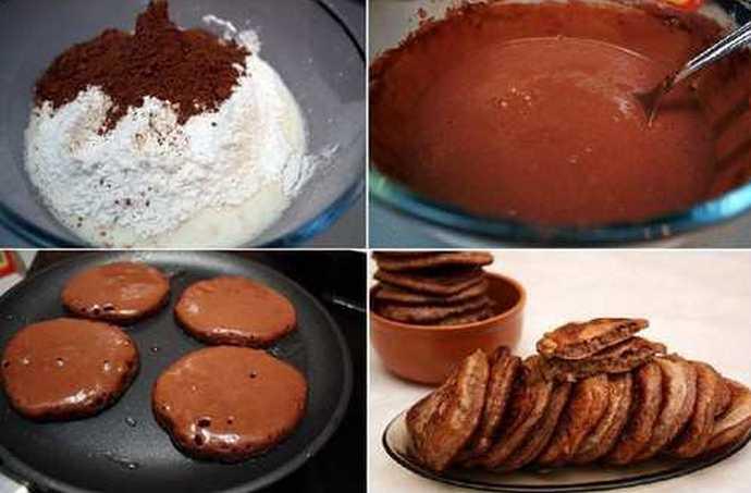 Рецепт приготовления шоколадных оладий